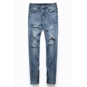 Men's Street Style Destroyed Hole Zip Cuff Side Light Blue Stretch Slim Fit Jeans