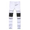 Men's Fashion Plain Knee Zipper Embellished Regular Stretch Fit Jeans