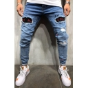 Mens Cool SXVSU Letter Embroidery Rolled Cuff Distressed Light Blue Skinny Fit Ripped Jeans
