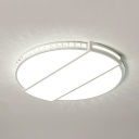 Round LED Ceiling Light Contemporary Acrylic Flush Mount Lighting with Clear Crystal in White/Warm