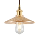 Flared Pendant Light Kitchen Single Light Vintage Hanging Light with Amber Ribbed Glass in Brass
