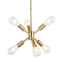 Mid Century Sputnik Ceiling Pendant 6 Lights Height Adjustable Metal Chandelier in Brass