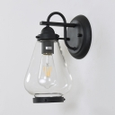Vintage Pear Wall Light Glass Single Light Black Wall Sconce for Dining Room