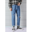 Retro Nostalgia Blue Straight-Leg Loose Fit Distressed Ripped Jeans for Guys