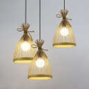 3 Lights Tapered Ceiling Pendant Asian Woven Hanging Ceiling Light in Beige/Black with 47