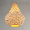 Vase Rattan Hanging Lamp in Contemporary Style Height Adjustable 1-Light Pendant Lighting in Beige
