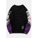 Street Hip Hop Style Figure Letter Printed Colorblock Round Neck Long Sleeve Unisex Sweatshirt