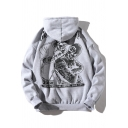 Men's Street Fashion Skull Figure Letter Printed Long Sleeve Unisex Hoodie