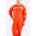Men's Basic Long Sleeve Lapel Collar Flap Pocket Front Thermal Work Mechanic Coveralls