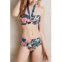 New Stylish Floral Printed Halter Hollow Out Blue Bikini Swimwear
