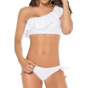 Stylish One Shoulder Simple Basic White Tied Sides String Bikinis