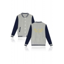 Unisex Fashion Printed Stand-Collar Color Block Long Sleeve Button Down Baseball Jacket