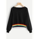 New Trendy Rainbow Striped Hem Long Sleeve Black Loose Pullover Sweatshirt