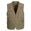 Fashion V-Neck Multi-Pocket Casual Zip Up Fishing Photography Poplin Vest