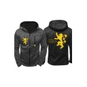 Game of Thrones Popular Letter HOUSE LANNISTER Lion Printed Long Sleeve Full Zip Fitted Black Hoodie for Men