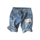 Guys Popular Trendy Applique Ripped Detail Light Blue Denim Shorts