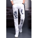 New Stylish Fashion Figure Printed Regular Fit White Jeans for Mens