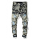 Guys New Fashion Vintage Bleach Washed Rolled Cuff Distressed Ripped Slim Fit Jeans