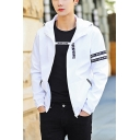 New Stylish Letter Print Long Sleeve Zip Closure Sport Hooded Jacket for Guys