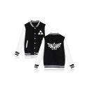 The Legend of Zelda Fashion Logo Printed Stand Collar Long Sleeve Colorblock Button Baseball Jacket