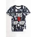 Cool Letter THIS IS HIP-HOP 3D Figure Pattern Short Sleeve Black Tee