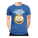 Creative Smile Face Letter I HATE EVERYONE TODAY Mens Cotton Basic T-Shirt