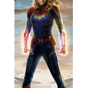 Captain Marvel Fashion Cool 3D Printed Cosplay Costume Long Sleeve Slim Blue Jumpsuits