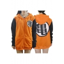Dragon Ball Cosplay Costume Fashion Printed Long Sleeve Color Block Zip Up Unisex Hoodie
