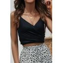 New Trendy Solid Color V-Neck Knotted Detail Cropped Cami Top