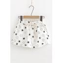 Summer Comfortable Linen Drawstring Waist Allover Star Printed White Shorts