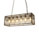 Industrial Adjustable Black Island Pendants with Rectangle and 39