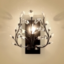 Candle Sconce Lighting for Bedroom One-Light Contemporary Metal Wall Mounted Light in Black/Gold with Clear Crystal