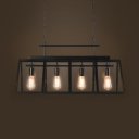 4 Lights Rectangle Island Lighting with 31.5