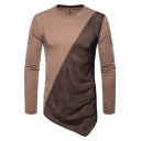 Unique Mesh Panel Slant Cut Bottom Long Sleeve Plain Fitted T-Shirt for Men