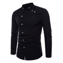 Men's Unique Awesome Double Placket Side Button Stand-Collar Plain Long Sleeve Fitted Shirt