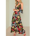 Women's Sexy V-Neck Cold Shoulder Floral Tropical Printed Split Hem Floor Length Beach Dress