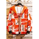 Men's New Stylish Allover Letter Logo Print Hip Hop Thin Hooded Zip Up Jacket