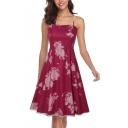 Summer Fashion Transparent Mesh Floral Printed Mini A-Line Slip Dress
