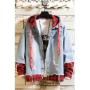 Unique Designer Plaid Patchwork Letter Drawstring Hooded Ripped Button-Down Fake Two-Piece Denim Coat Jacket
