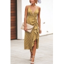 New Trendy Fashion V-Neck Polka Dot Printed Sexy Split Front Midi Slip Dress