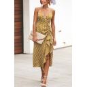 New Trendy Fashion V-Neck Polka Dot Printed Sexy Split Front Midi Slip Dress