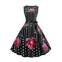 Women's Vintage Polka-Dot Floral Print Round Neck Sleeveless Bow-Tied Waist Black Midi Flare Dress
