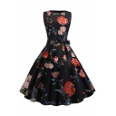 Vintage Floral Print Round Neck Sleeveless Bow-Tied Waist Black Midi Flare Dress