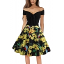 Color Block Floral Printed Off the Shoulder Bow-Tied Front Midi Flare Dress