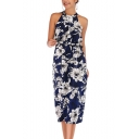 Ethnic Floral Pattern Halter Neck Sleeveless Chiffon Midi Cami Beach Dress