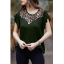 Womens Cool Leopard Print Round Neck Short Sleeve Casual T-Shirt