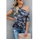 New Trendy Camouflage Print Cold Shoulder Short Sleeve Loose Fit T-Shirt