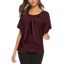 New Fashion Plain Round Neck Short Sleeve Loose Casual T-Shirt for Women