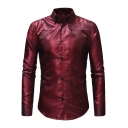 Classic Rhombic Check Jacquard Design Long Sleeve Men's Fitted Button-Front Shirt