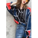 Hip Hop Street Style Graffiti Pattern Lapel Collar Long Sleeve Loose Chiffon Shirt